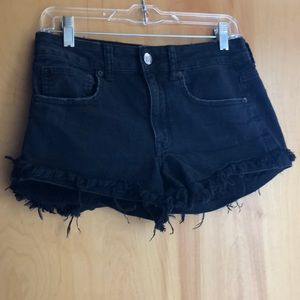 American Eagle Hi-Rise Festival black jean shorts